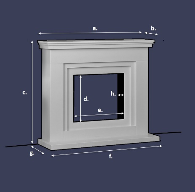 Electric fireplace diagram labeled for each part